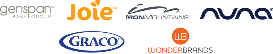Logos for GenSpan Baby Group, Joie, Iron Mountains, Nuna, Graco and WonderBrands